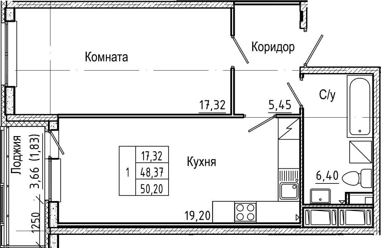 2-комнатная 52 м<sup>2</sup> на 6 этаже