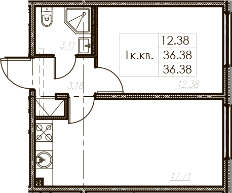 2-комнатная 36 м<sup>2</sup> на 18 этаже