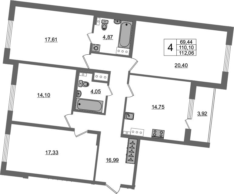4-комнатная 114 м<sup>2</sup> на 3 этаже