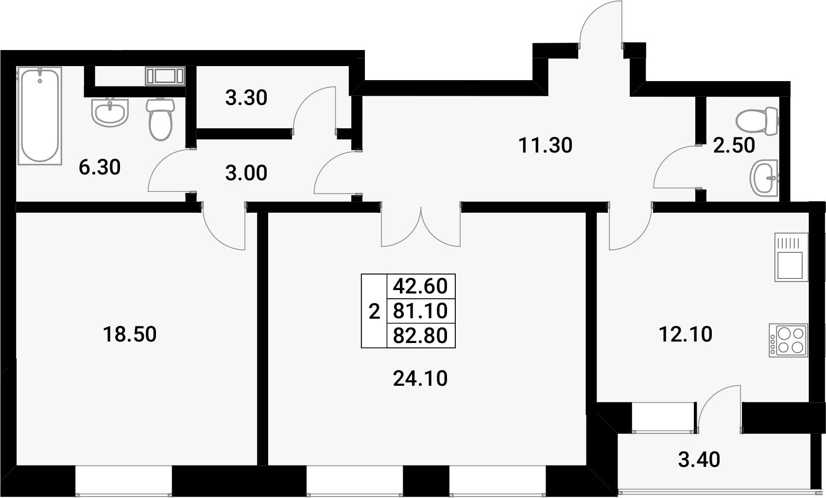 2-к.кв, 84.5 м²