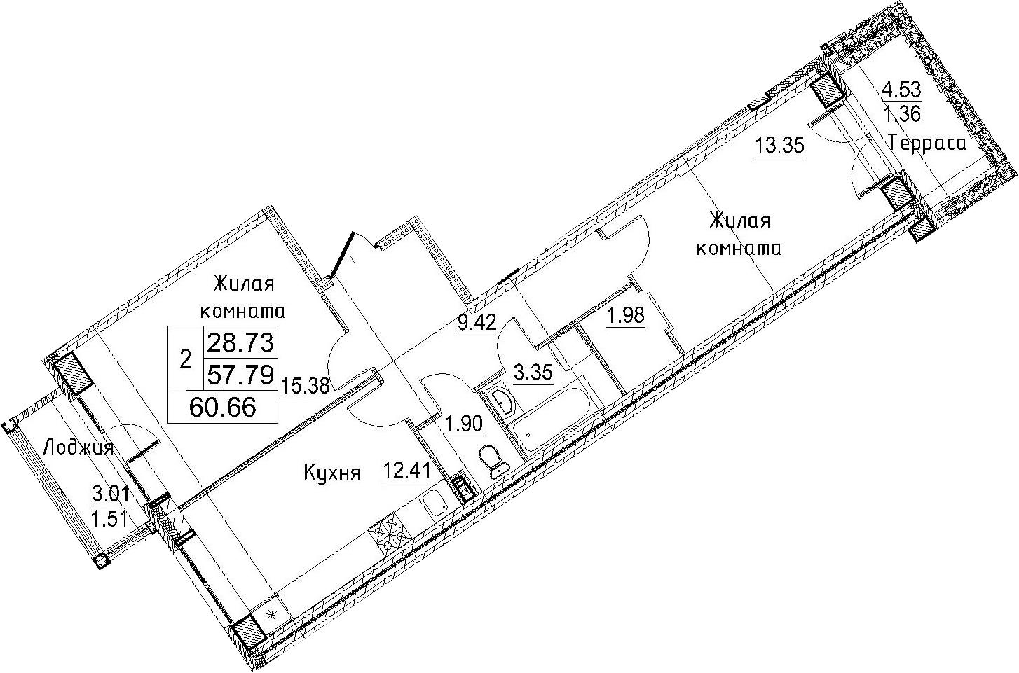2-к.кв, 65.34 м²