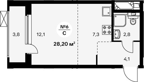 Студия 30 м<sup>2</sup> на 25 этаже