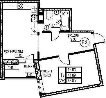 2-к.кв (евро), 47.69 м²
