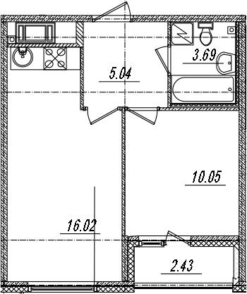 2-комнатная 37 м<sup>2</sup> на 10 этаже