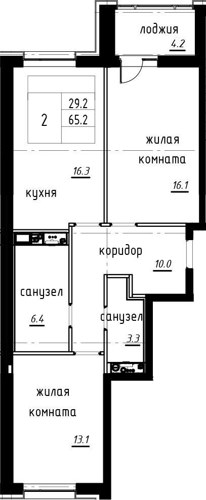3-комнатная 69 м<sup>2</sup> на 2 этаже