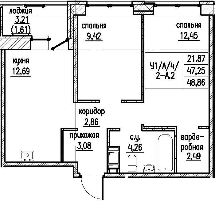 2-комнатная 50 м<sup>2</sup> на 8 этаже