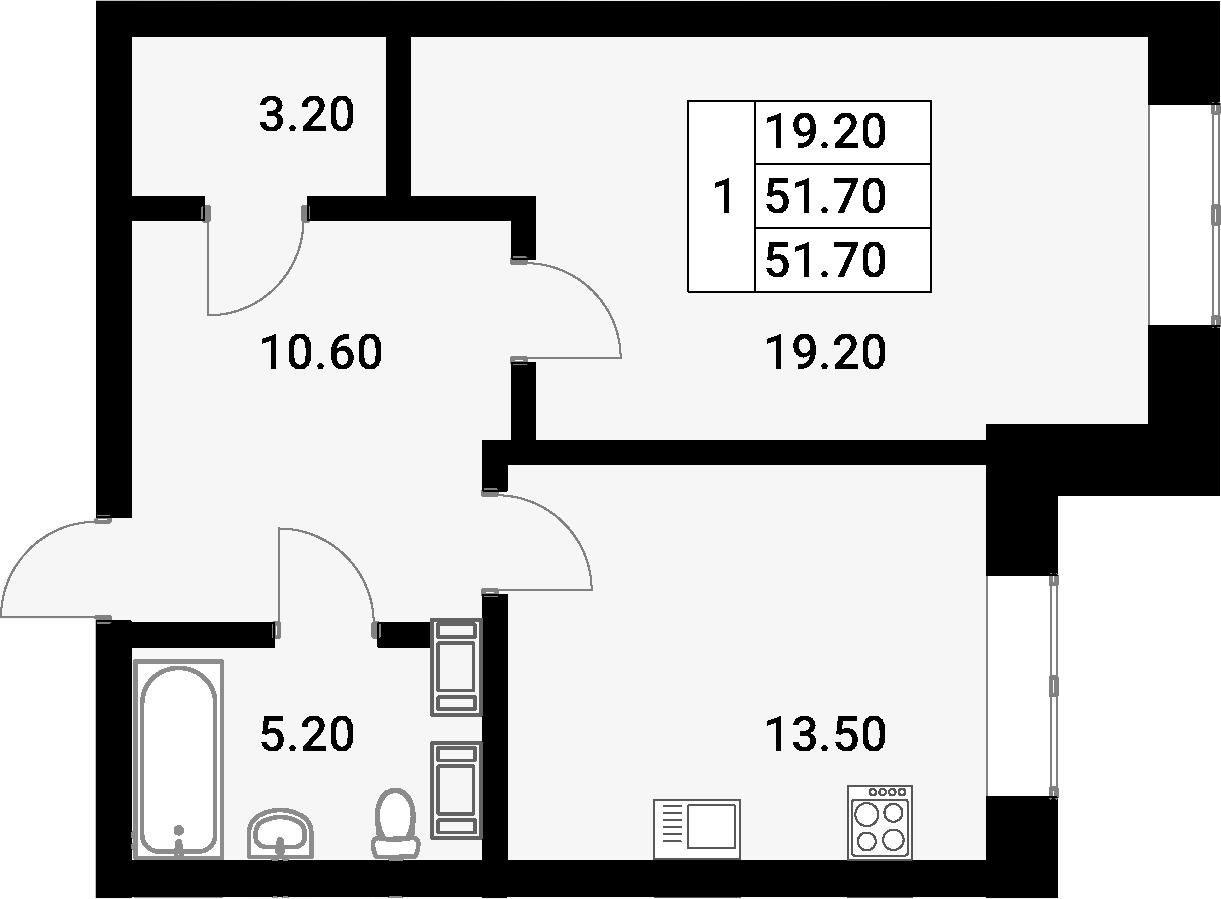1-к.кв, 51.7 м²