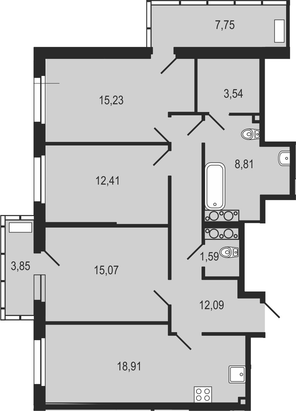 4-комнатная 99 м<sup>2</sup> на 25 этаже