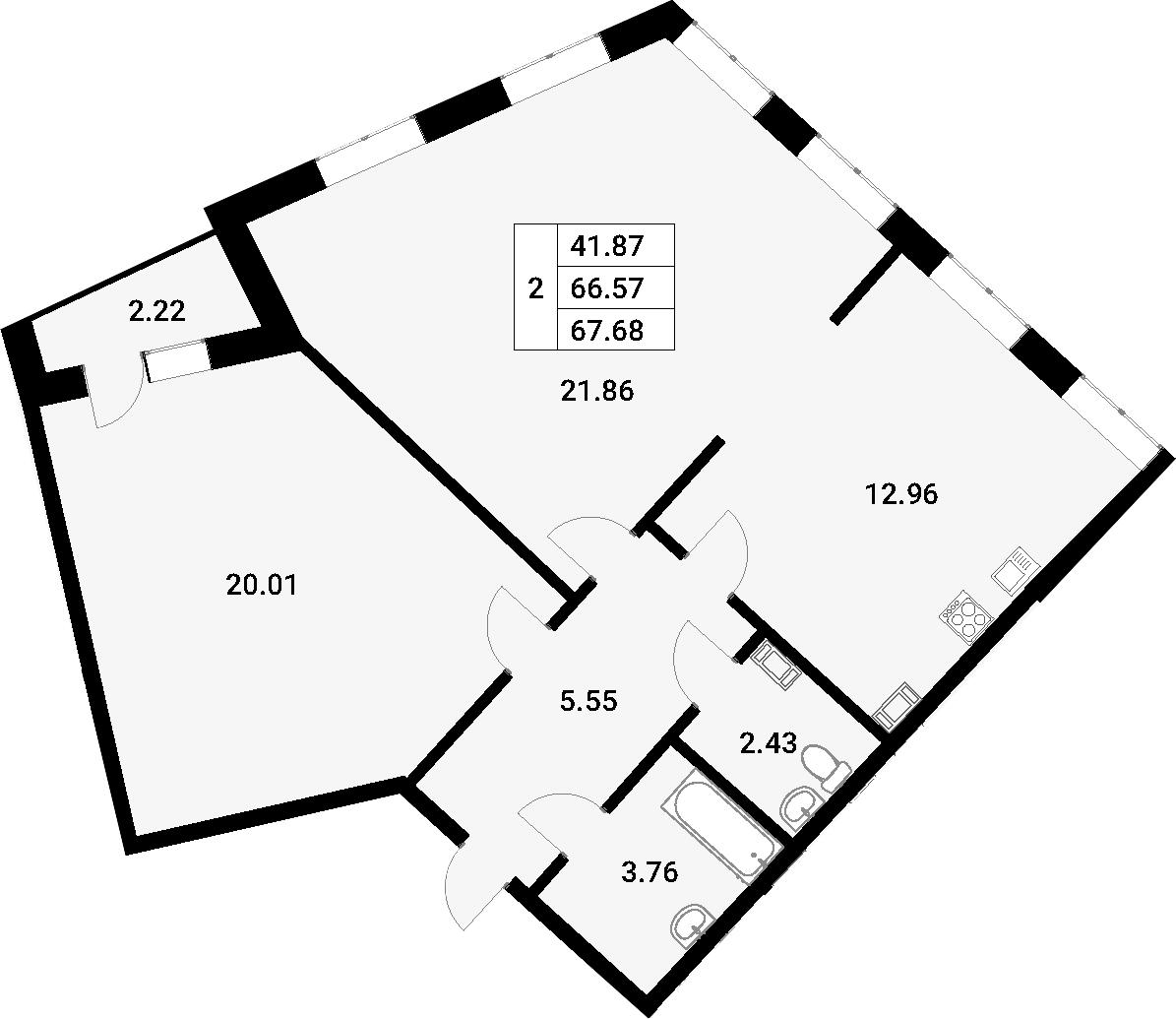 2-комнатная 70 м<sup>2</sup> на 4 этаже