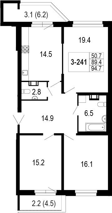3-комнатная 99 м<sup>2</sup> на 2 этаже