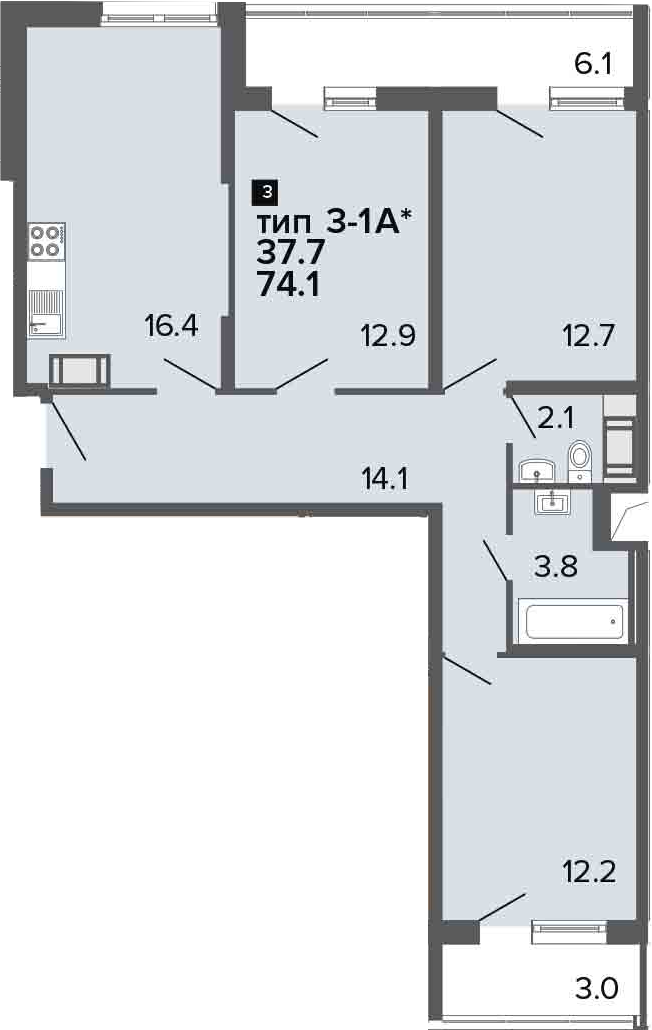 4-комнатная 83 м<sup>2</sup> на 20 этаже