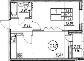 2-комнатная 38 м<sup>2</sup> на 12 этаже