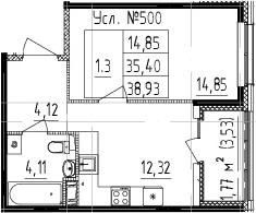 1-комнатная 38 м<sup>2</sup> на 11 этаже