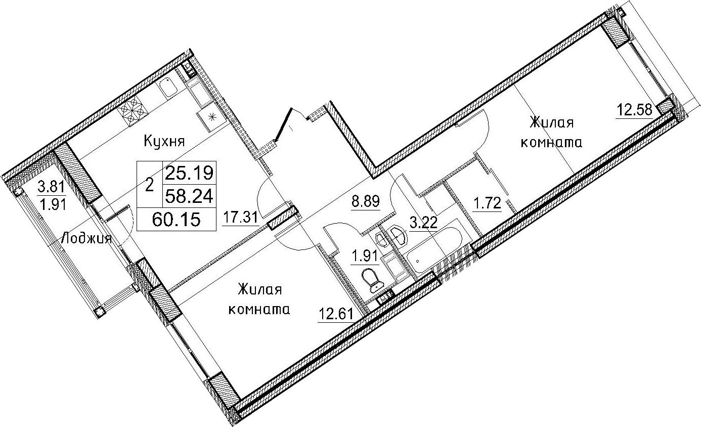 3-к.кв (евро), 62.06 м²