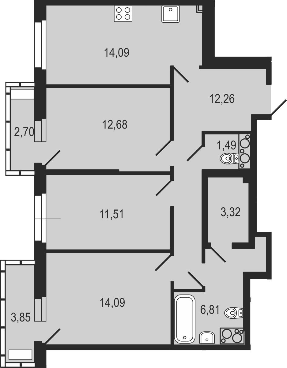 3-комнатная 82 м<sup>2</sup> на 23 этаже