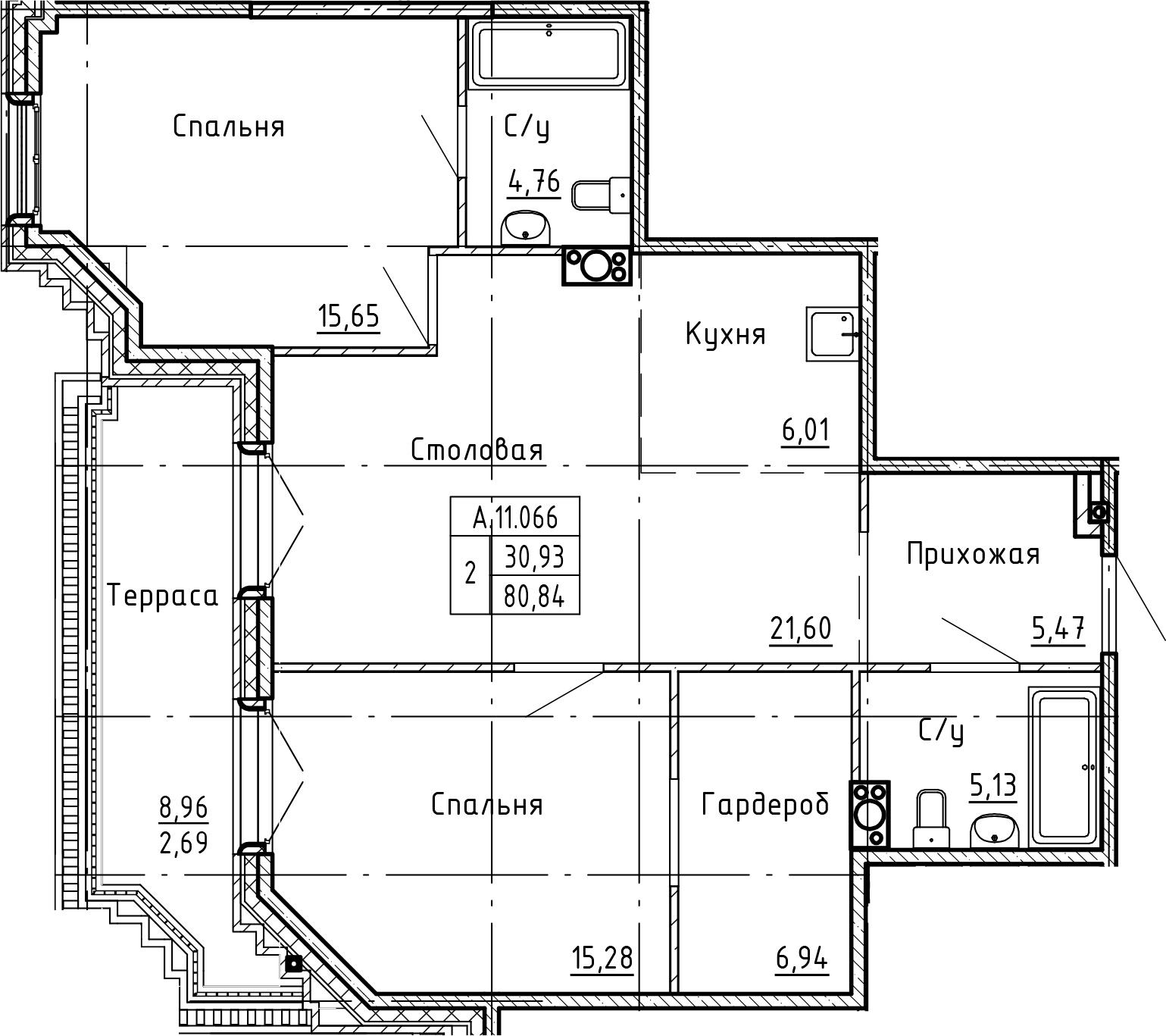 3-комнатная 89 м<sup>2</sup> на 11 этаже