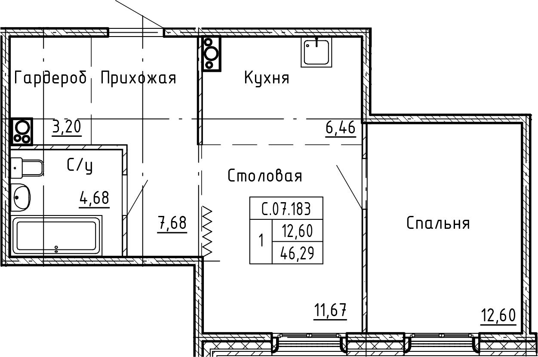 1-комнатная 46 м<sup>2</sup> на 7 этаже