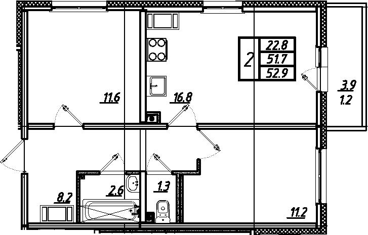 3-комнатная 55 м<sup>2</sup> на 17 этаже