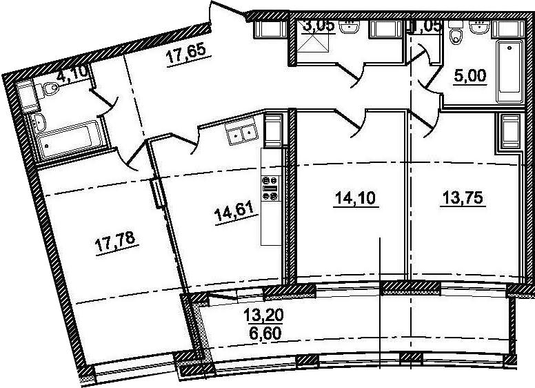 3-комнатная 104 м<sup>2</sup> на 12 этаже