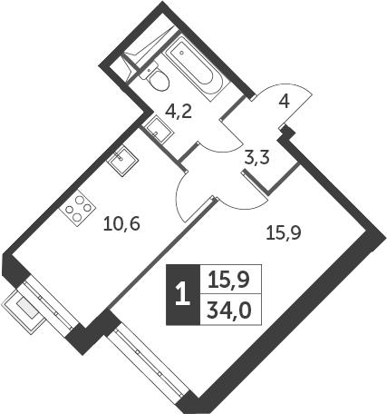 1-к.кв, 34 м²
