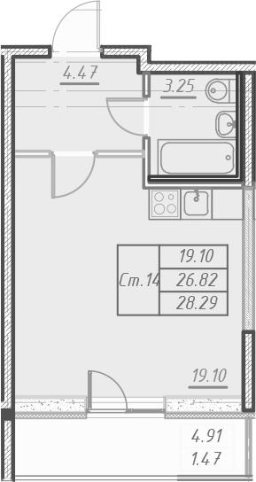 Студия 31 м<sup>2</sup> на 16 этаже