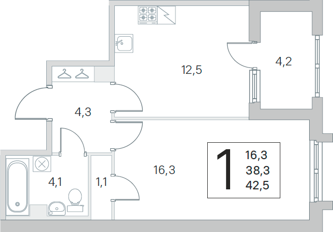 1-комнатная 42 м<sup>2</sup> на 1 этаже