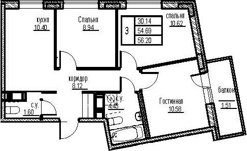 3-к.кв, 59.72 м²