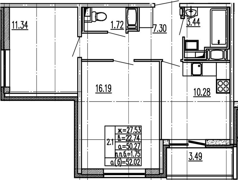 2-комнатная 53 м<sup>2</sup> на 14 этаже