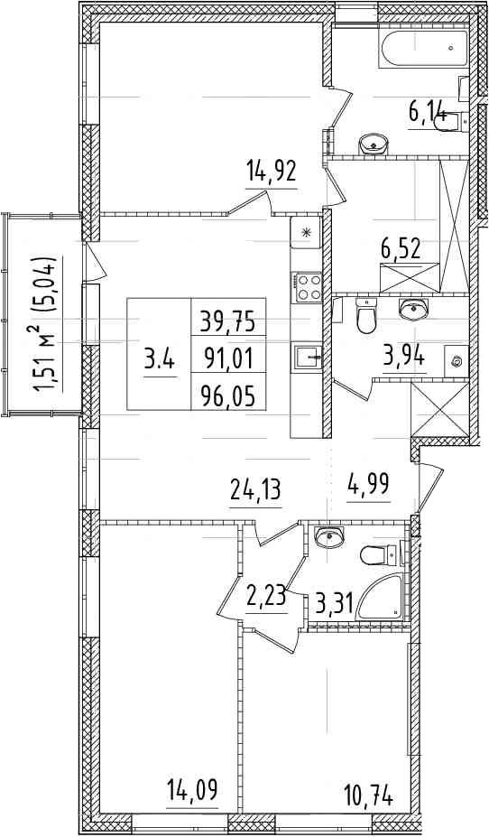4-комнатная 96 м<sup>2</sup> на 2 этаже