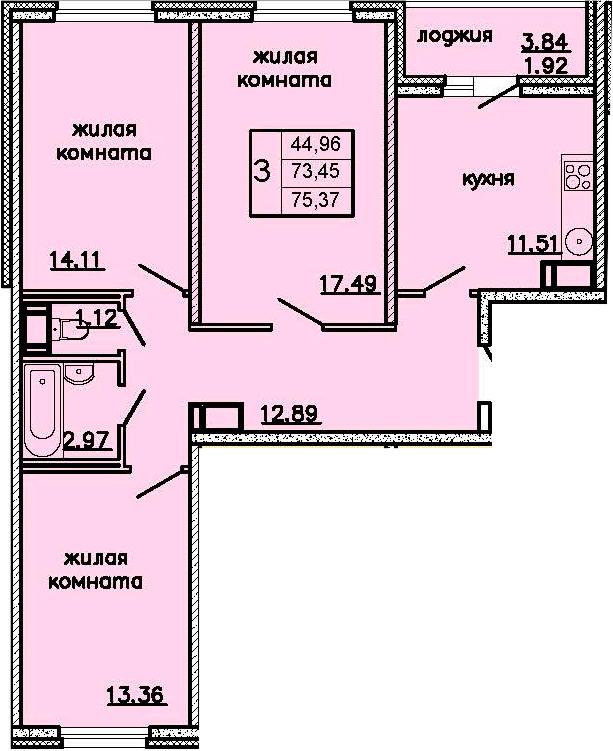 3-комнатная 77 м<sup>2</sup> на 13 этаже