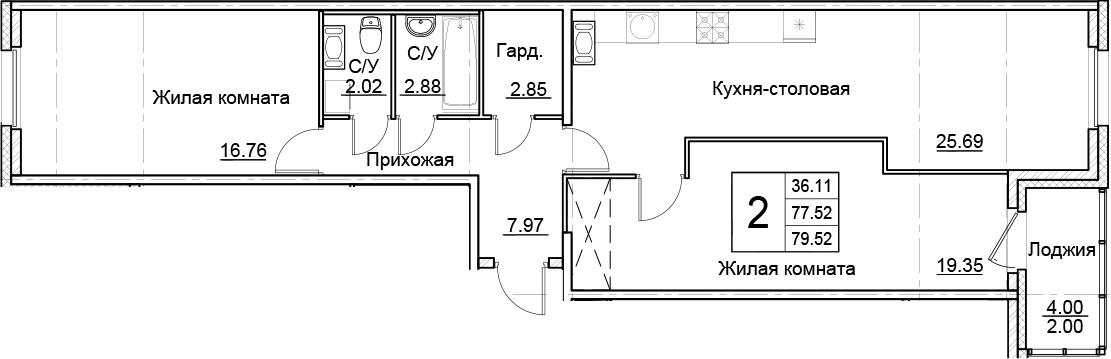 3-комнатная 81 м<sup>2</sup> на 13 этаже