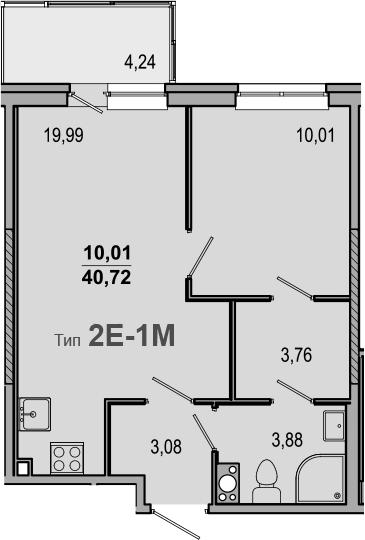 2-комнатная 44 м<sup>2</sup> на 8 этаже