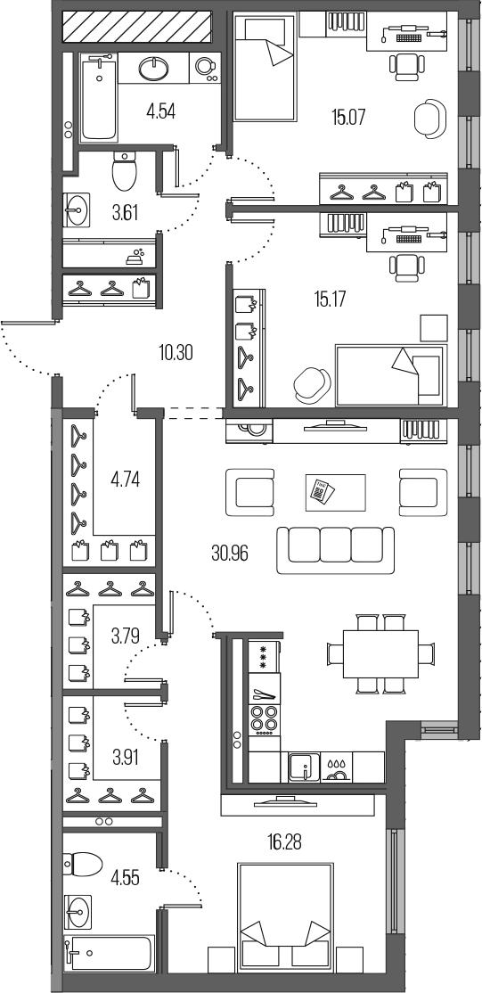 4-комнатная 112 м<sup>2</sup> на 2 этаже