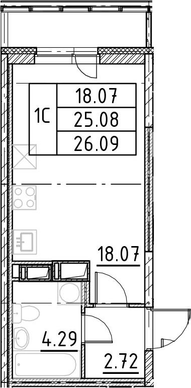Студия, 28.45 м²