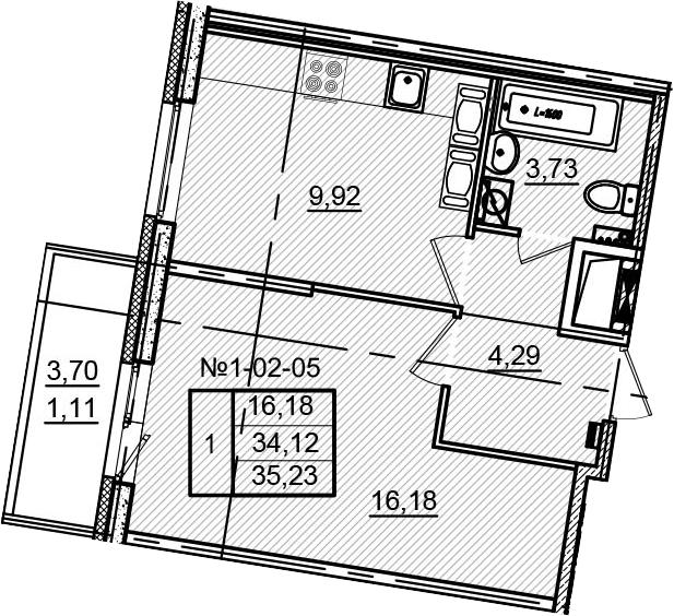 1-к.кв, 37.82 м²