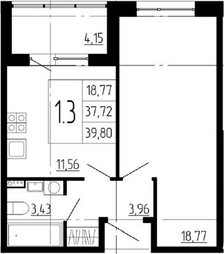 1-к.кв, 41.87 м²