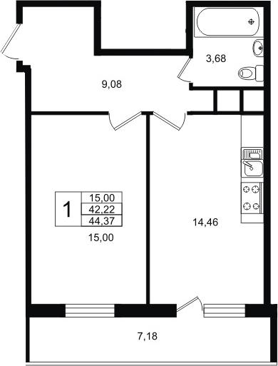 2-комнатная 49 м<sup>2</sup> на 9 этаже