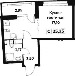 Студия 26 м<sup>2</sup> на 3 этаже