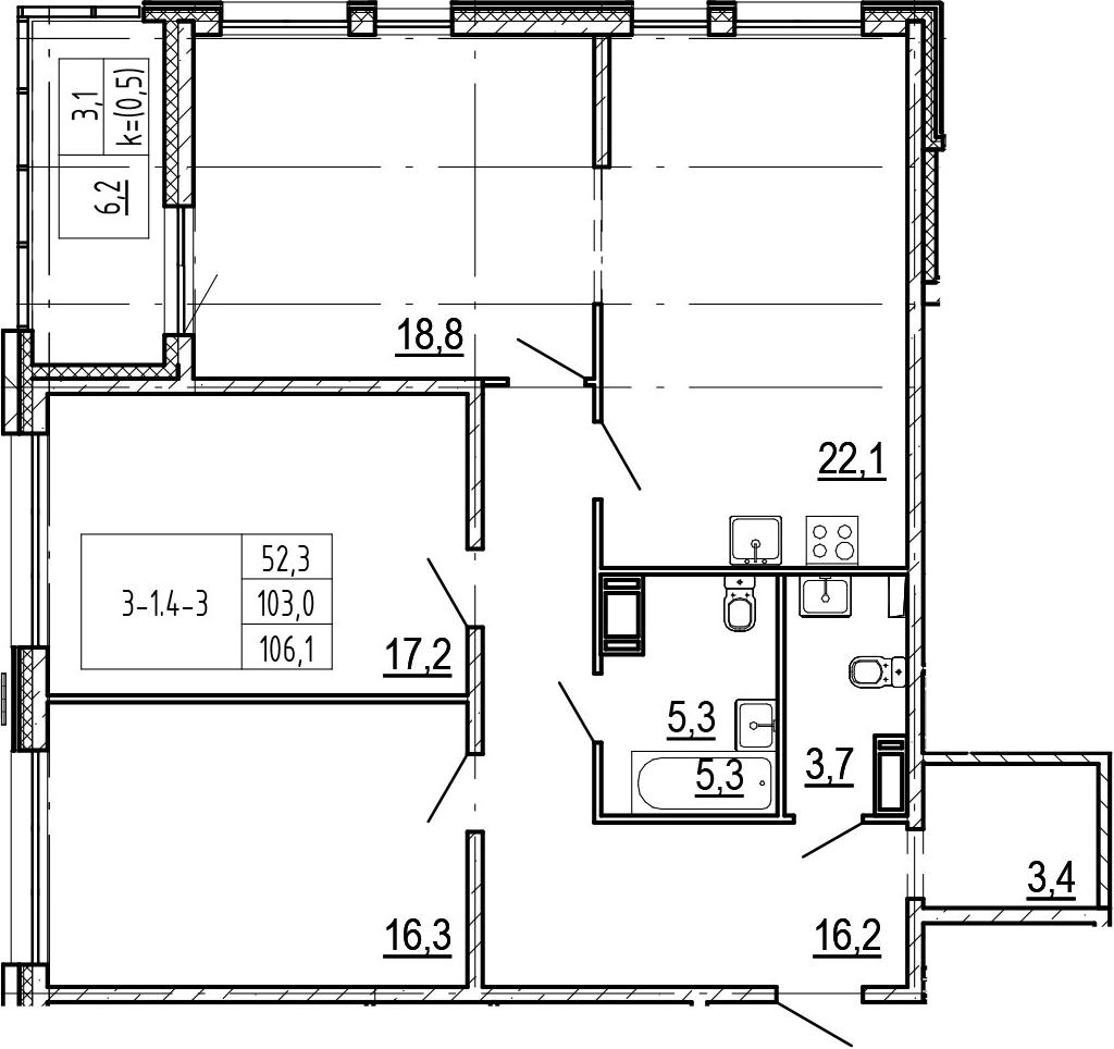 4-комнатная 109 м<sup>2</sup> на 15 этаже