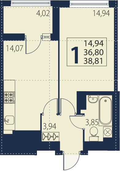 2-комнатная 40 м<sup>2</sup> на 27 этаже