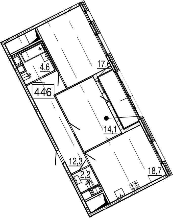 3-комнатная 74 м<sup>2</sup> на 11 этаже