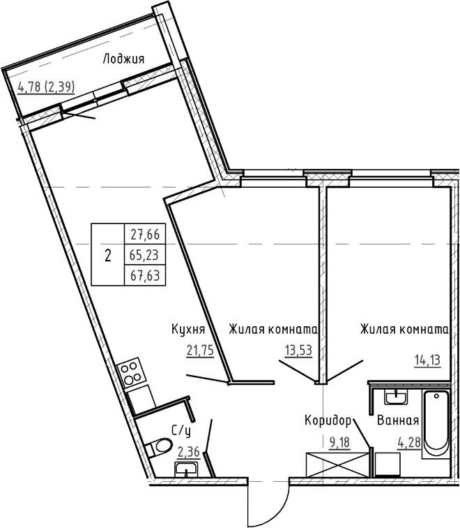 3-комнатная 70 м<sup>2</sup> на 1 этаже