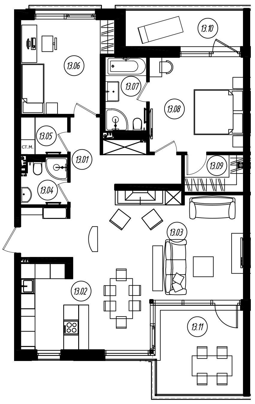 3-комнатная 117 м<sup>2</sup> на 2 этаже