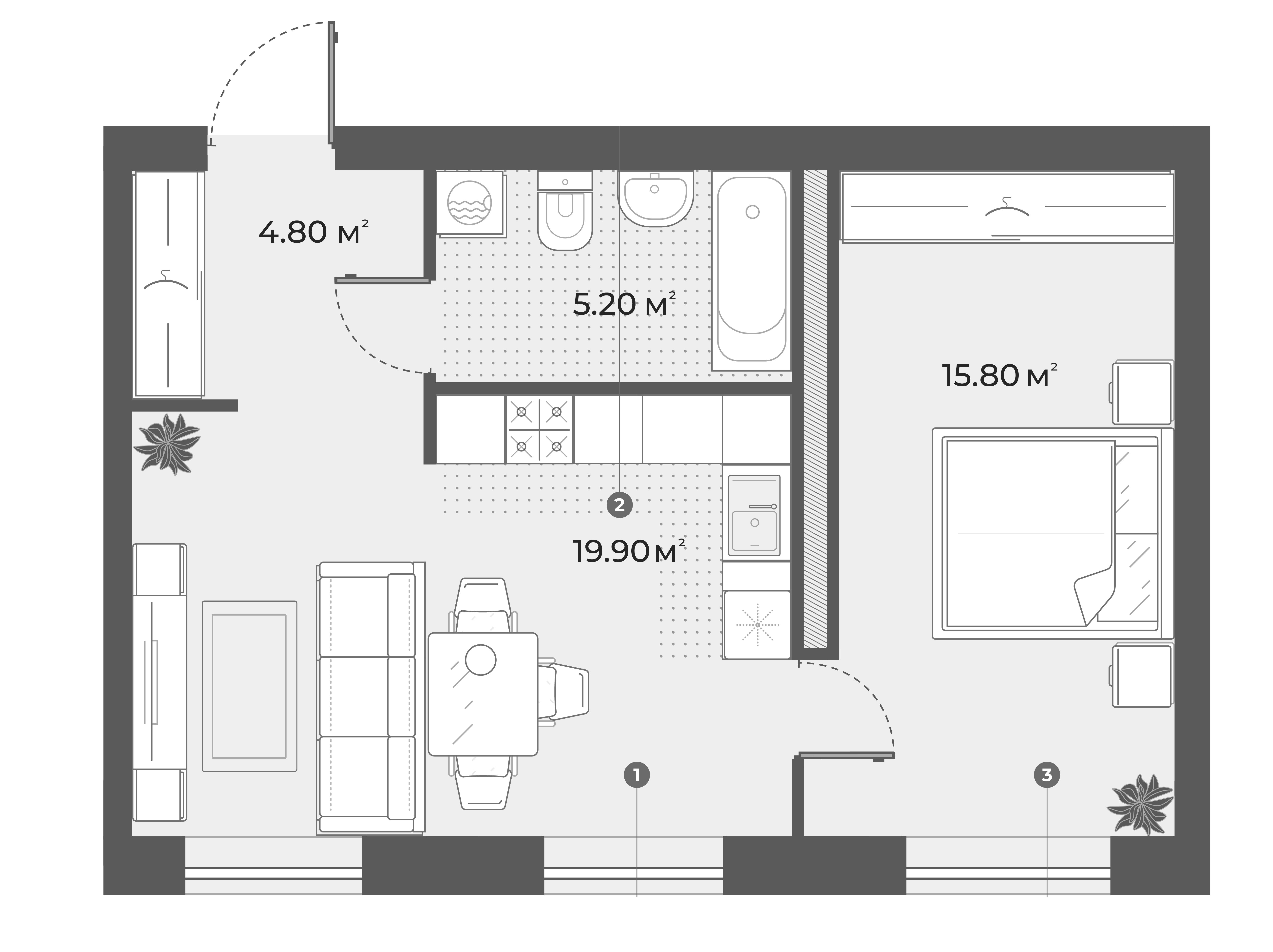 2-комнатная 45 м<sup>2</sup> на 5 этаже