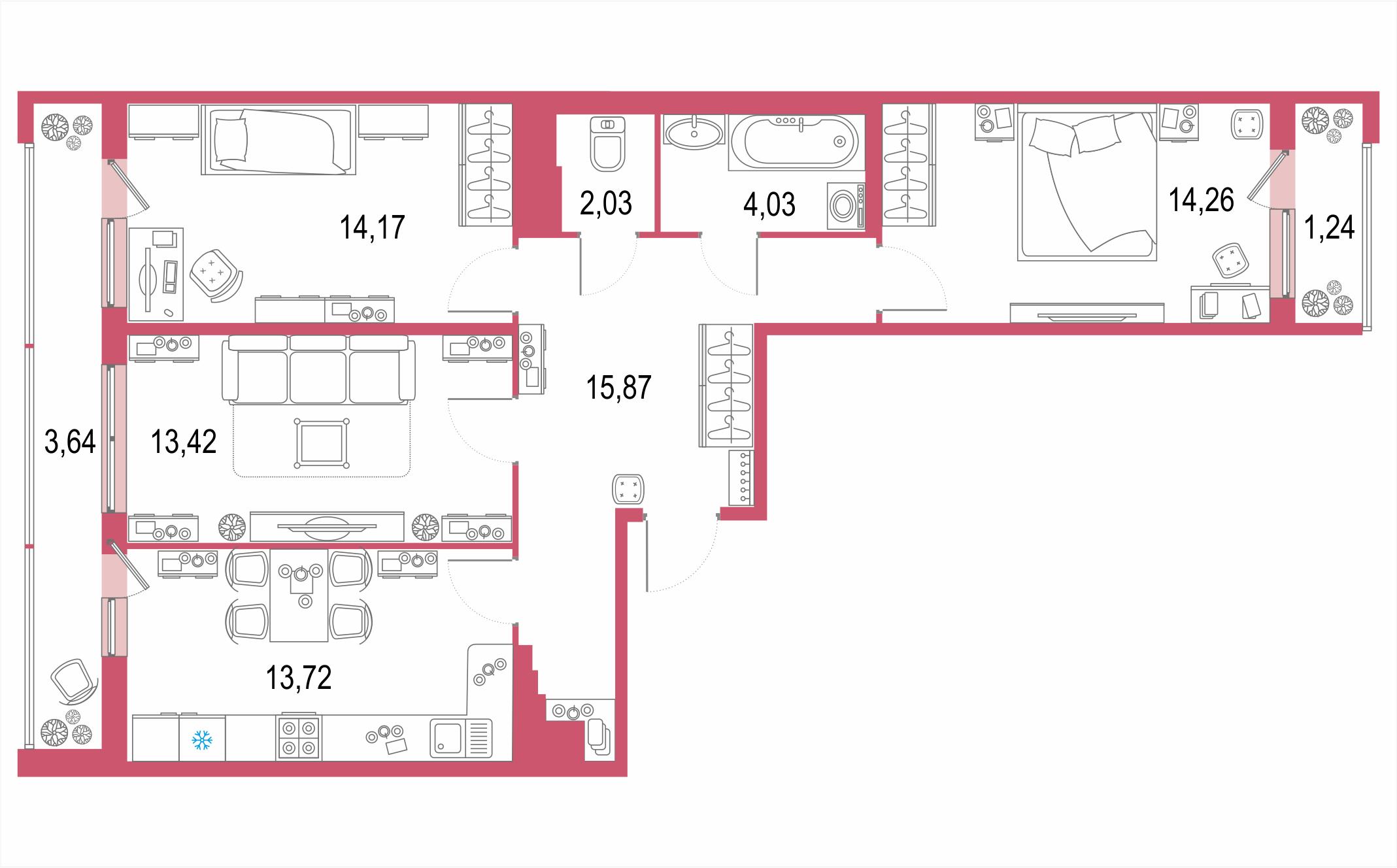 3-комнатная 87 м<sup>2</sup> на 21 этаже