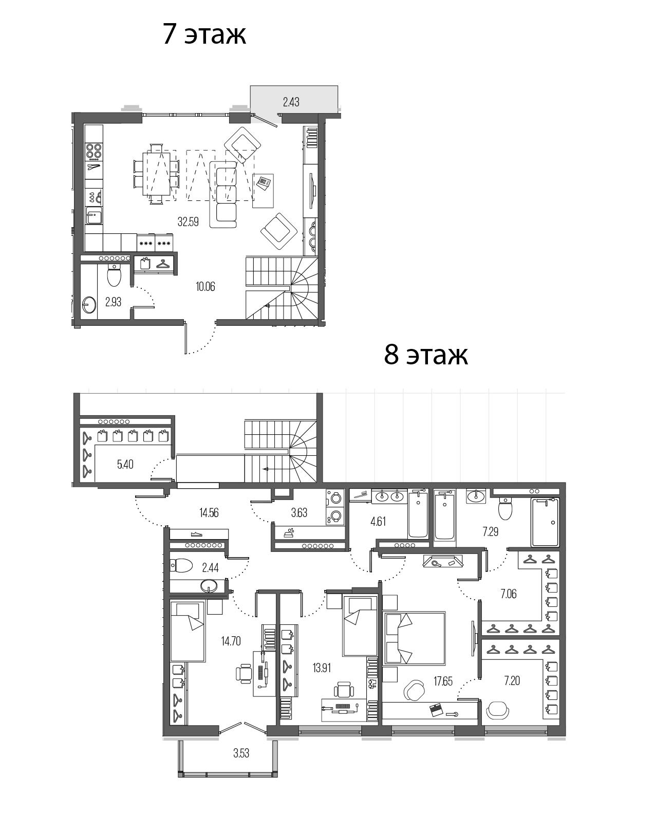 4-комнатная 149 м<sup>2</sup> на 7 этаже