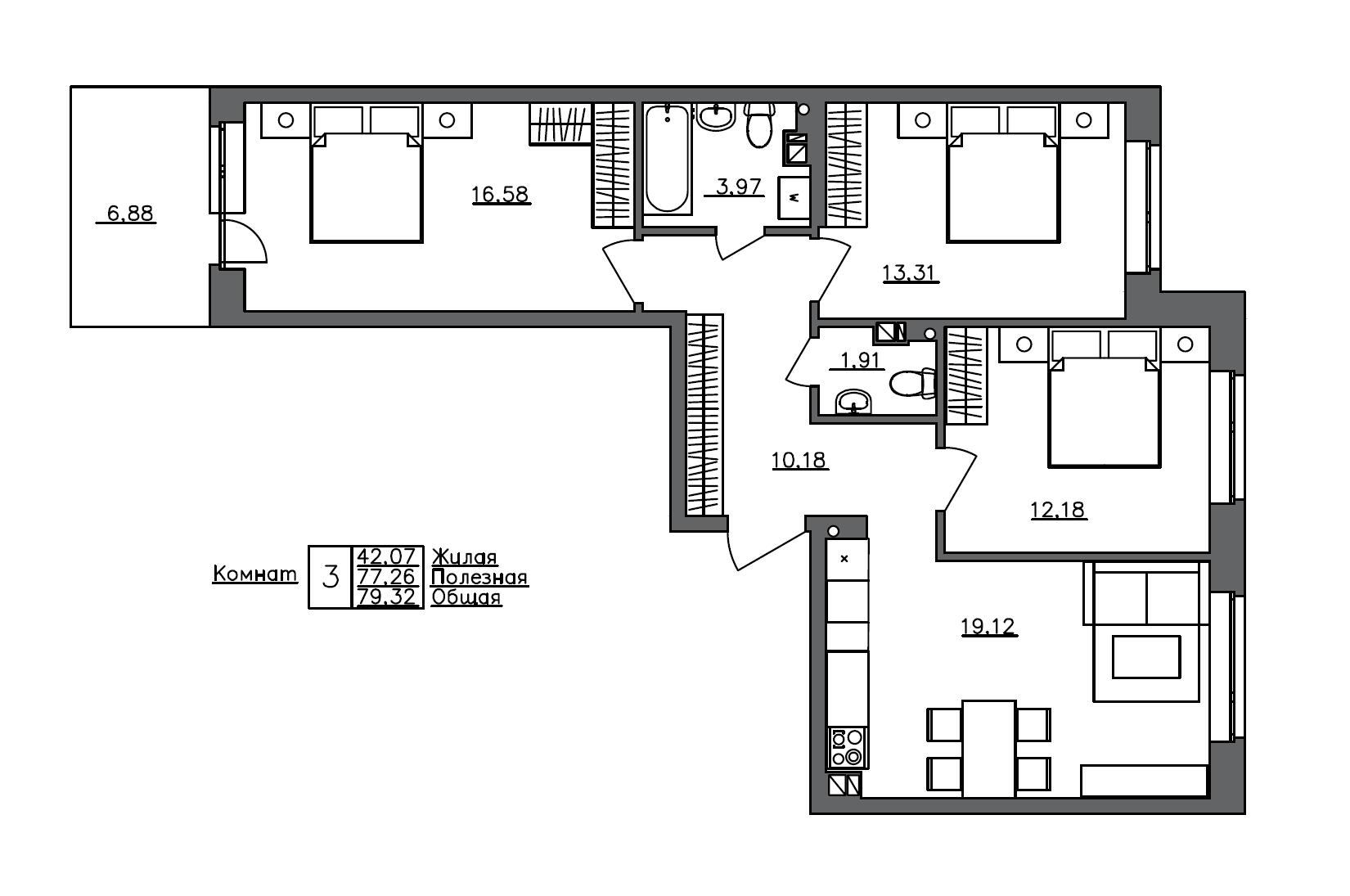 4-комнатная 84 м<sup>2</sup> на 1 этаже