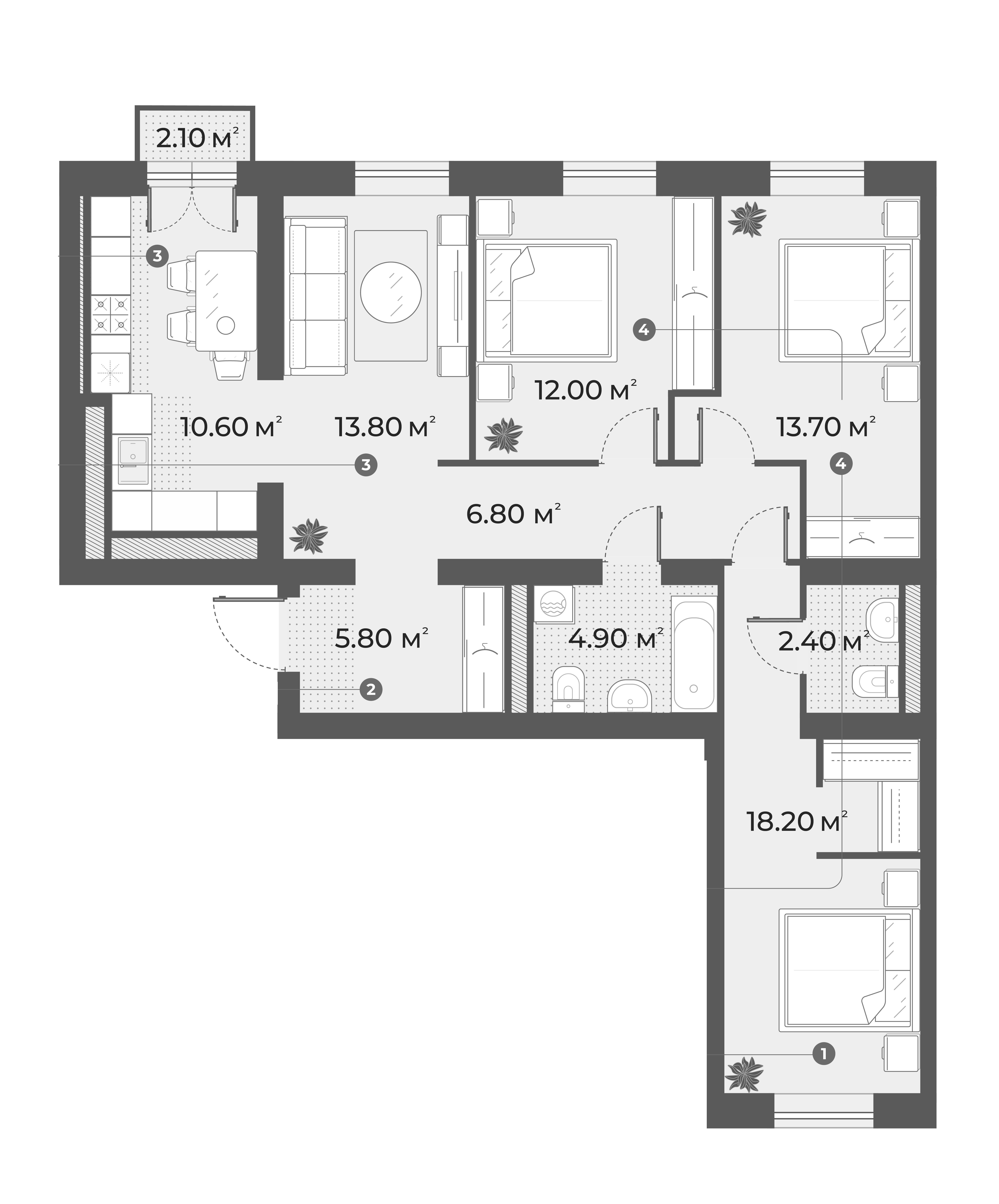 4-комнатная 89 м<sup>2</sup> на 5 этаже