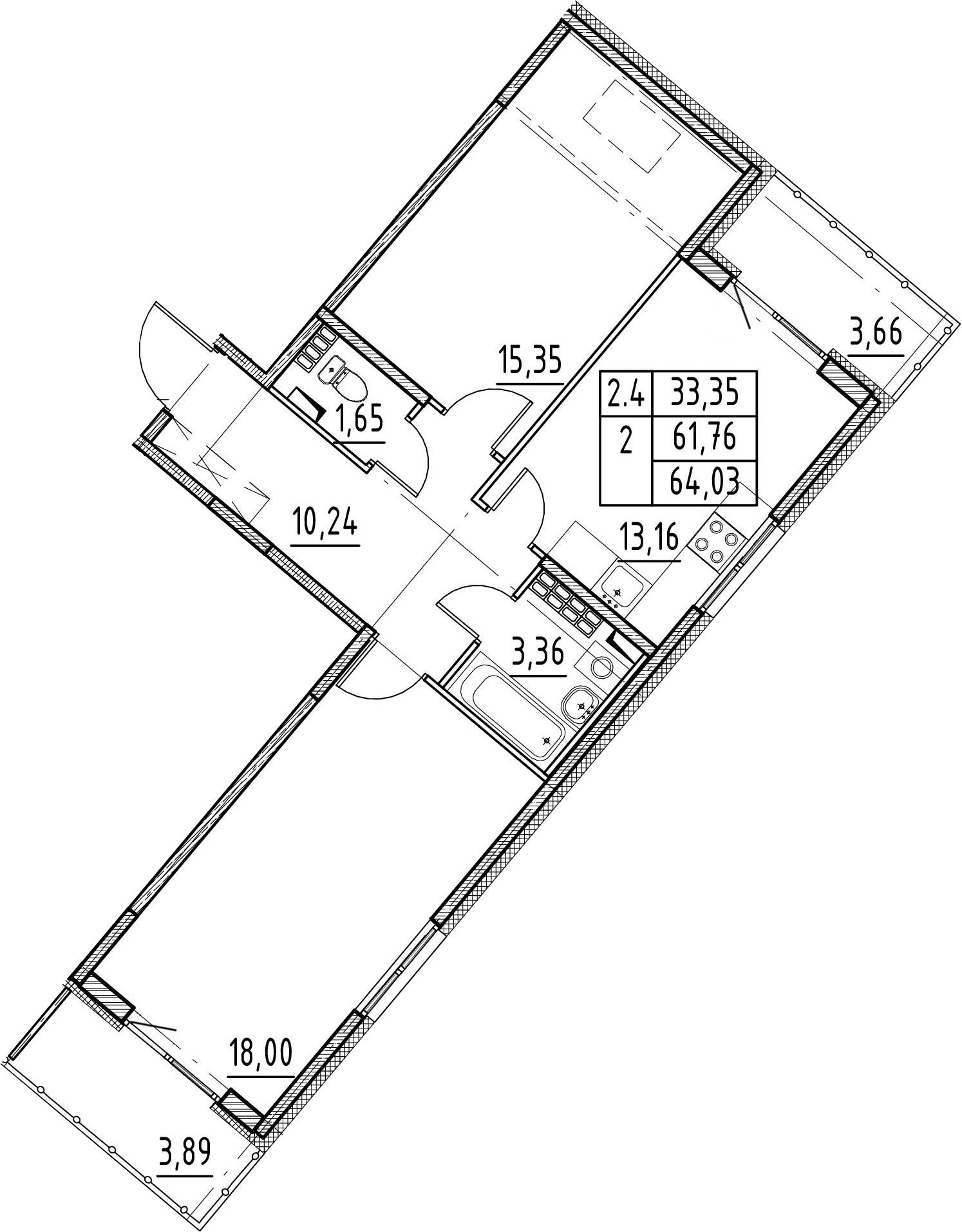 2-комнатная 69 м<sup>2</sup> на 5 этаже