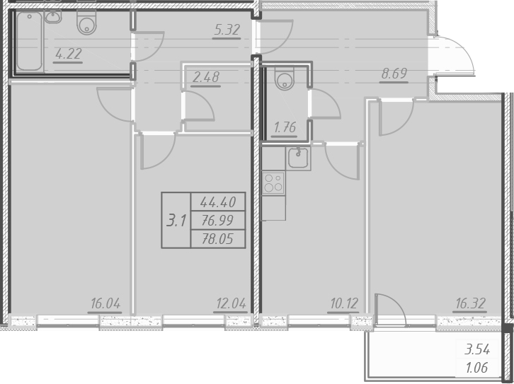 3-к.кв, 80.53 м²